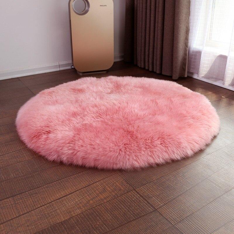 Grand tapis rond de couleur rose en peau de mouton 130 cm pour la décoration de la maison, tapis de sol en fourrure de peau de mouton
