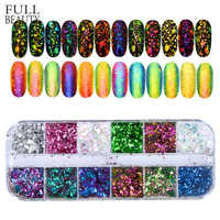 Full Beauty 12 Color Dazzling Sparkly Nail Sequins Chameleon Irregular Mirror Glitter Powder Dust DIY Decor Nail Flakes CHBS