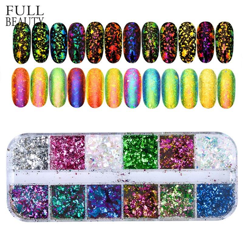 La belleza 12 Color deslumbrante de uñas brillante lentejuelas camaleón Irregular espejo brillo polvo decoración DIY UÑAS DE CHBS
