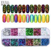 Volle Schönheit 12 Farbe Dazzling Sparkly Nagel Pailletten Chameleon Unregelmäßigen Spiegel Glitter Pulver Staub DIY Decor Nagel Flocken CHBS