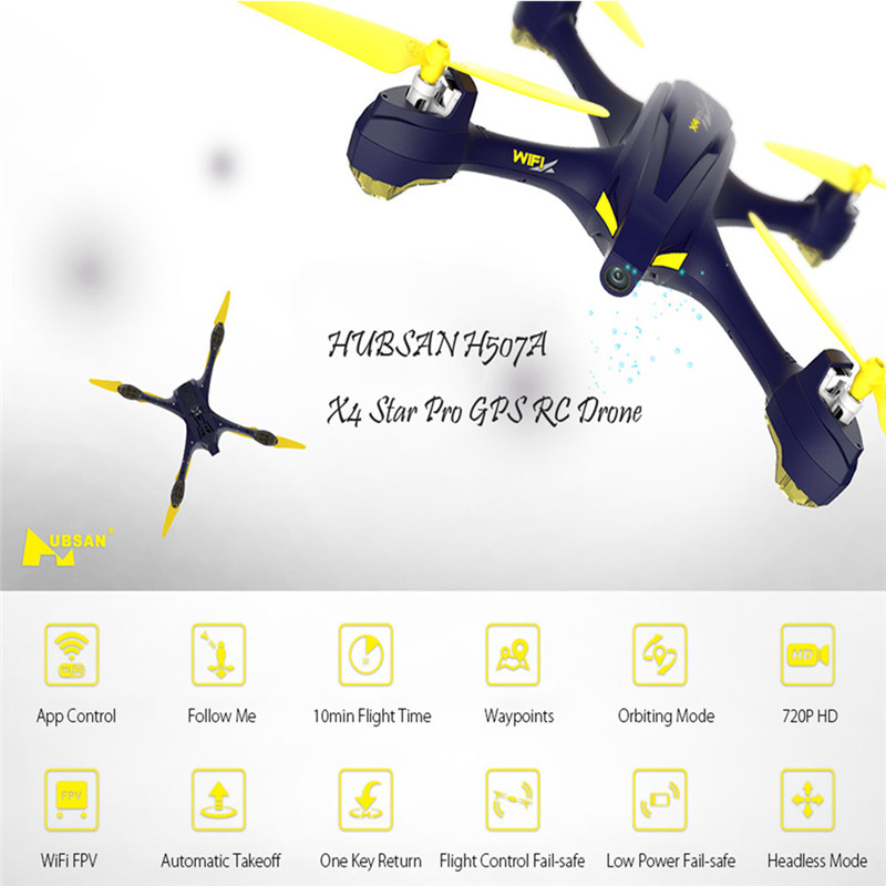 Original Hubsan H507A X4 Quadcopter With Camera Wifi Pro APP Driven Drone With Camera GPS RC Quadcopter FPV Helicopter RTF Drone lipo battery 7 4v 2700mah 10c 5pcs batteies with cable for charger hubsan h501s h501c x4 rc quadcopter airplane drone spare