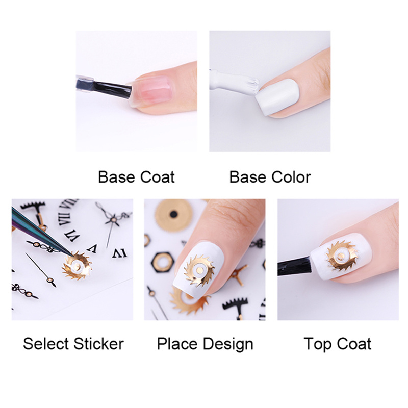 Image 5 - 1 Sheet Gold Silver Metal 3D Nail Sticker Lines Multi size Strip Adhesive Nail Art Transfer Sticker Manicure Nail Design-in Stickers & Decals from Beauty & Health