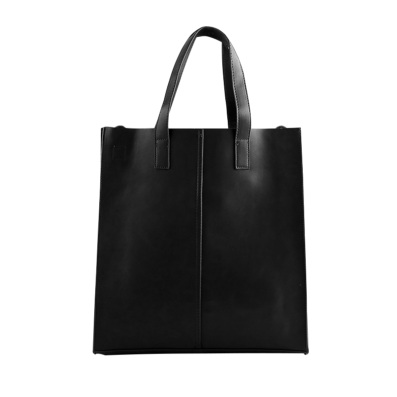 Fashion Large Capacity Casual Men's Tote Bags PU Leather Handbags For Man Brief Design Solid Single Shouder Bags hollow out string design u convex pouch pu leather boxer brief