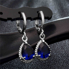 H:HYDE Enchanting 5 Color Silver Color Crystal CZ Zircon Waterdrop Dangle Earring For Women Bijoux brincos boucles d'oreilles(China)