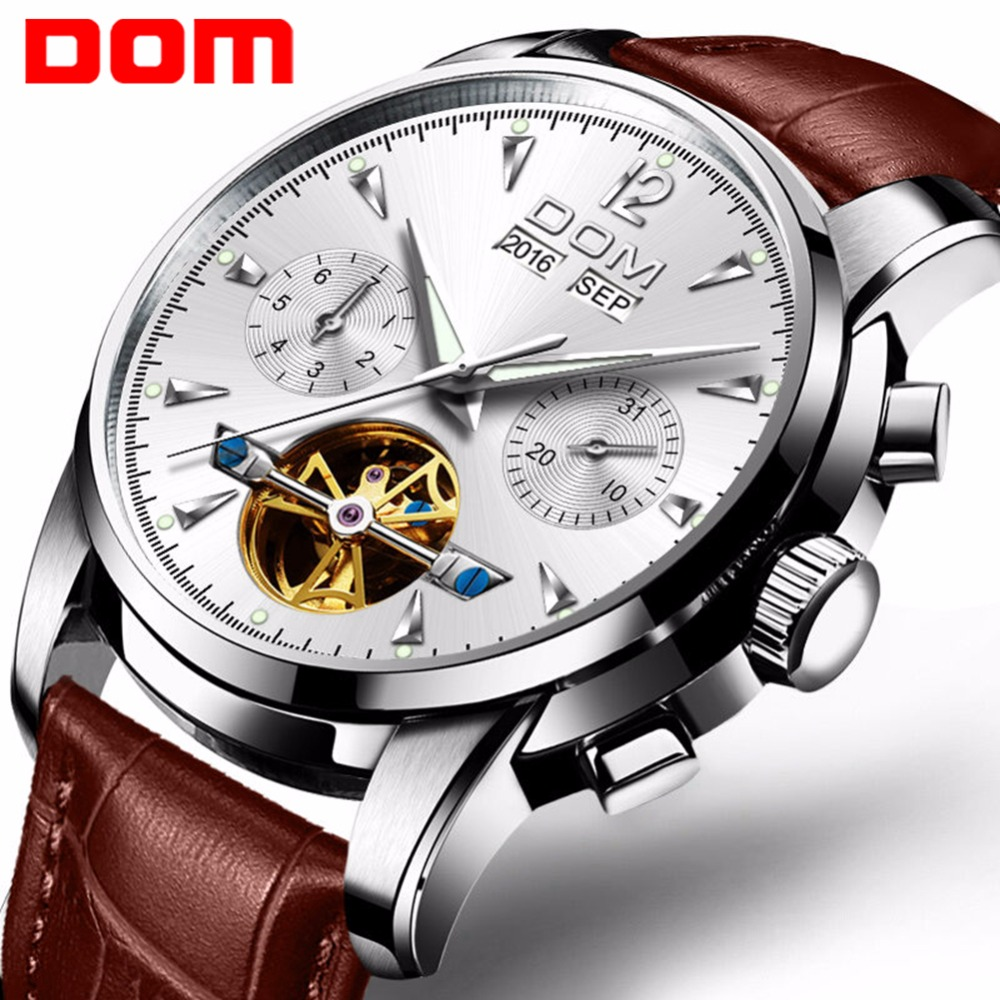 DOM Men Mechanical Watch Waterproof Leather Luxury Brand Man Business Watches Mens Automatic Watch Relogio Masculino M-75L-7MW dom mens watches top brand luxury automatic mechanical watch hollow men s watch waterproof wristwatch relogio masculino