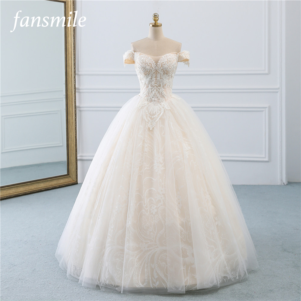Fansmile Vintage Princess Ball Gown Quality Tulle Wedding Dress 2019 Customized Plus size Lace Wedding Bride