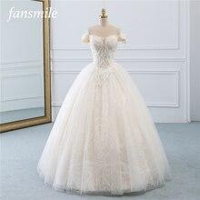 Fansmile 빈티지 공주 공 가운 품질 Tulle 웨딩 드레스 2020 사용자 정의 플러스 크기 레이스 웨딩 신부 드레스 FSM 518F