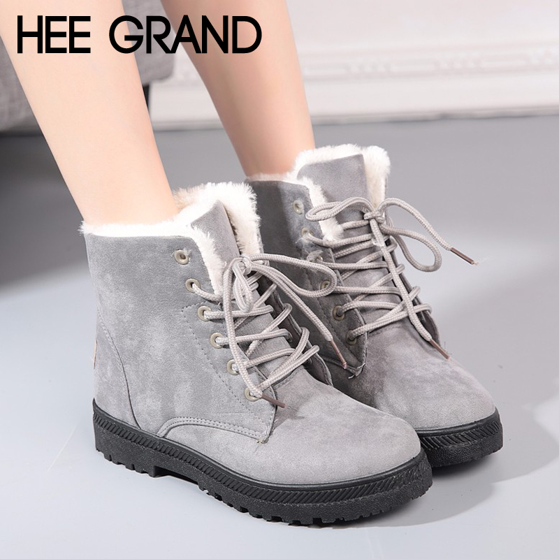 все цены на HEE GRAND Women Winter Warm Ankle Boots Lace up Platform Women Snow Boots Faux Fur Shoes Woman Suede Creeper Casual Flats XWM257