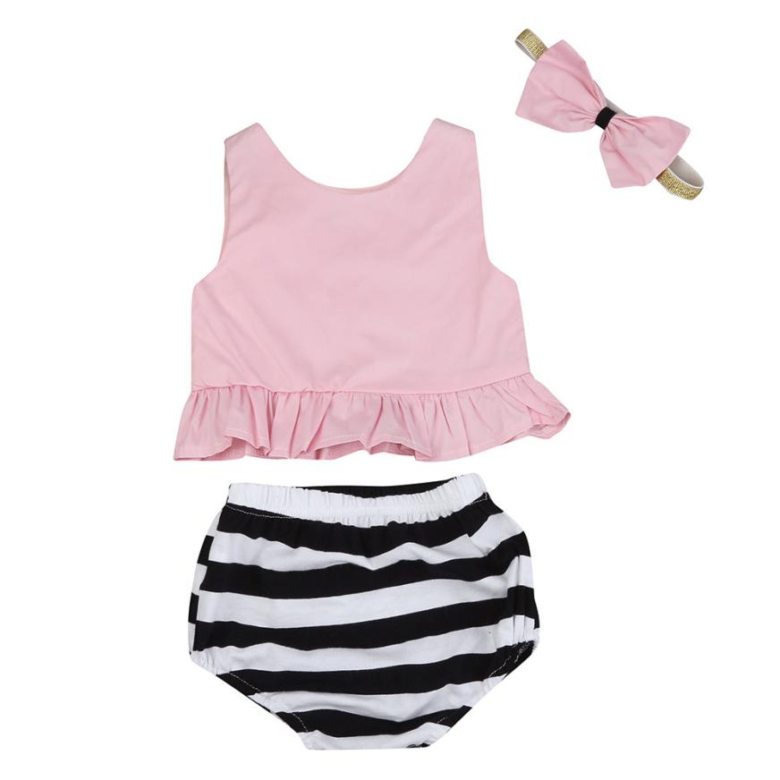 Boys Girls Kids Children Clothes Clothing3pcs Infant Baby Girls Tops+ Stripe Shorts+Headband Set Suit Clothes Outfit infant tops pants love pattern headband baby girl outfit set clothing 3pcs kid children baby girls clothes long sleeve