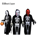 2016 nuevo fantasma de halloween scary traje familia padre madre hija hijo clothing set incluye máscara guantes mono 3 unidades set