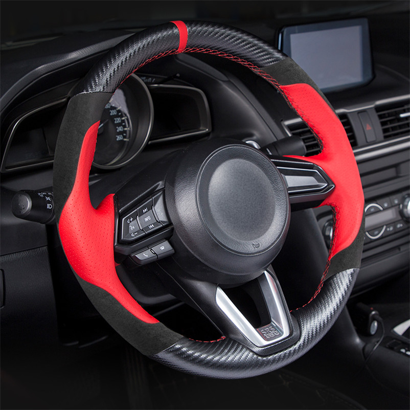 Handlebar braided leather steering wheel cover for Mazda 6 GJ CX3 CX 5 CX 4 AXELA