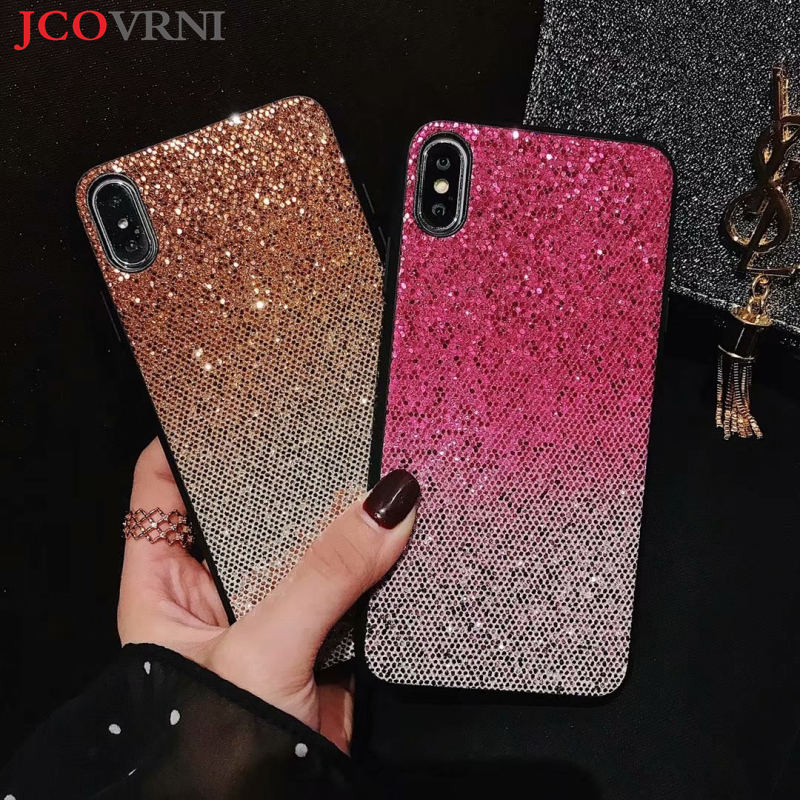 JCOVRNI Fashion light color glitter shell for iphone XR XS XSMAX female ultra thin single shell for iphone7 7plus 8 8plus back in Fitted Cases from Cellphones Telecommunications