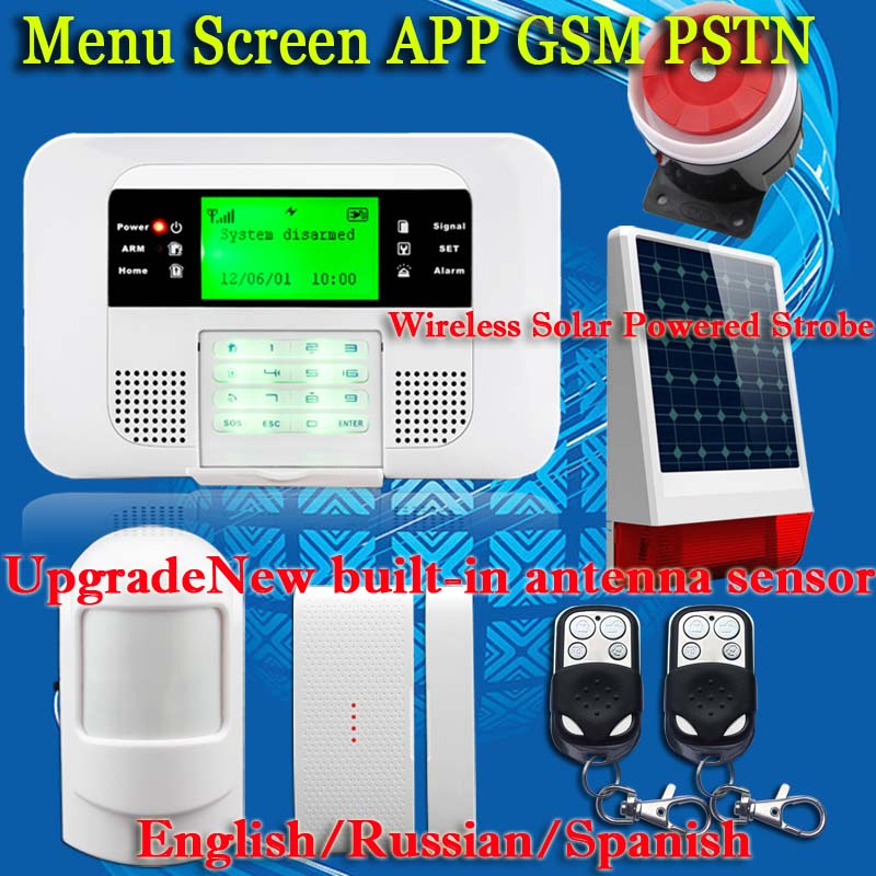 Free Shipping!Wireless Solar Powered Strobe Siren Security Home LCD Menu screen GSM PSTN Alarm System Russian Spanish English