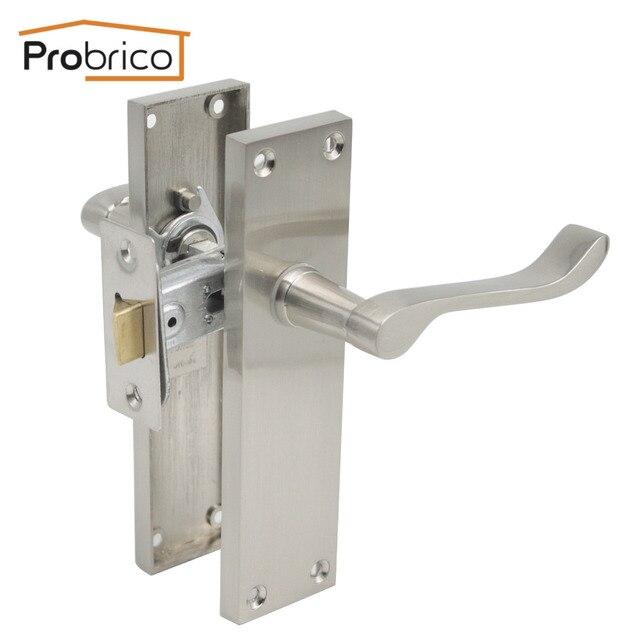 Probrico Page Door Locks Interior Lever Locksets Keyless Modern Handle European Mortise Lock Zinc Alloy Hardware