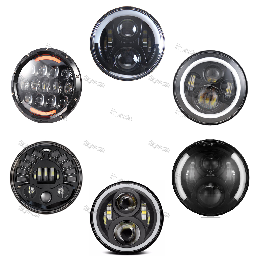 7 inch Round LED headlight Black Housing headlamp with white DRL /Amber turning color for Jeep and Motorcycle (1 pcs) цена