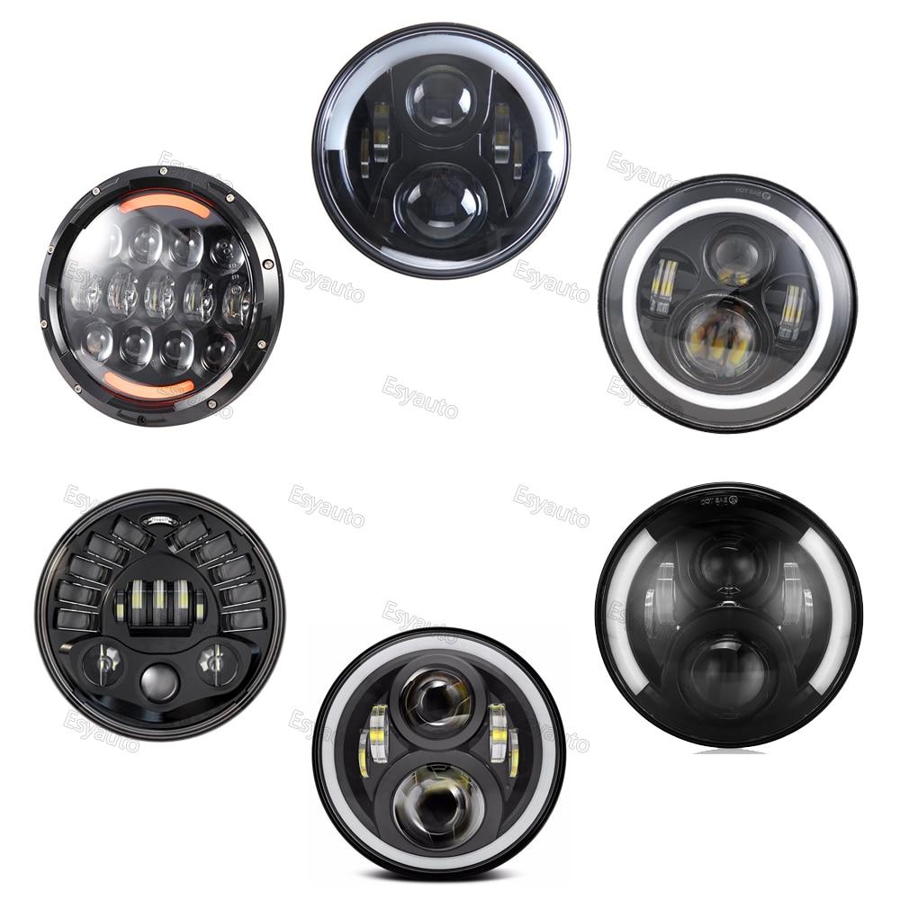 7 дюймов круглый светодиодный фары черный корпус фар с ДХО белый /Янтарный поворота цвет для джипа и мотоцикла (1 шт)