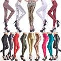 Venda quente Do Falso Couro Calças de Cintura Alta Leggings Estiramento PU Material Perneiras de Couro Moda Feminina Para As Mulheres