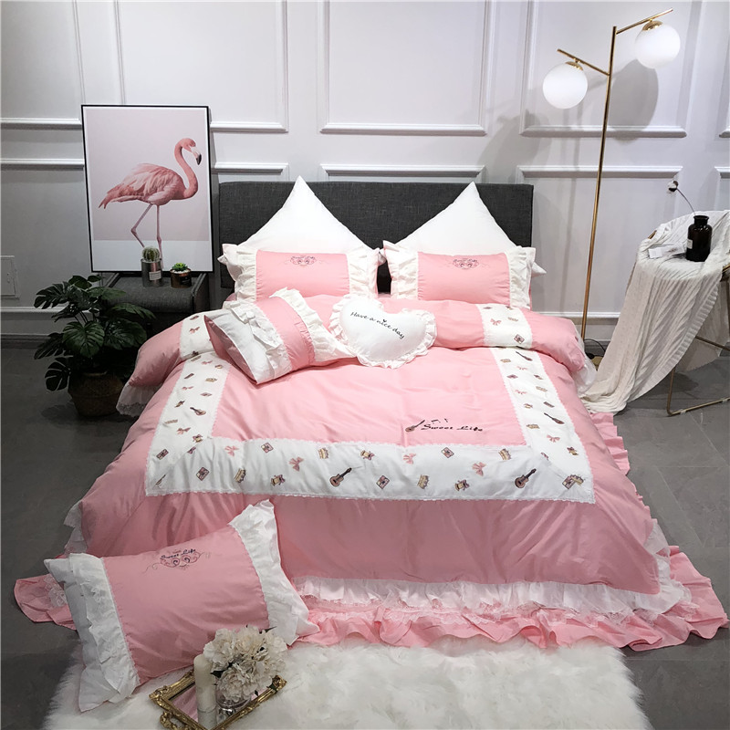 2018 White,pink,blue luxury bedding set queen/king size stain bed set 4pcs cotton silk Embroidery duvet cover bed sheet sets