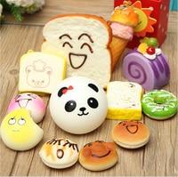 2016 12 Stks/partij Willekeurige Verzonden Kawaii Squishies Lots Cupcakes Panda Bun Toast Multi Donuts Squishiy