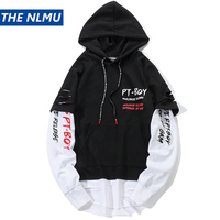 Letter Print Hoodies Men Women Japan Style False Two Piece Sweatshirts Hip Hop Casual Streetwear Mens Fashion Hole Hoodie WJ032