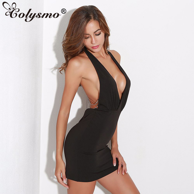 Colysmo Plunge V Neck Low Back Metal Chain Halter Dress Black Backless Women Party Dress Pencil Mini Dress Red Sexy Xmas Gift