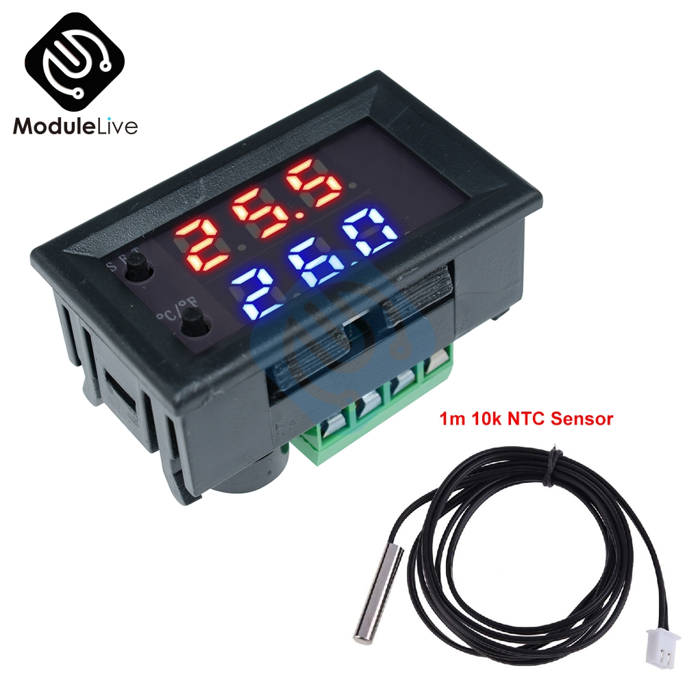 W1209 Digital Thermostat Temperature Controller DC12V NTC10K 1/% 3950 Cable