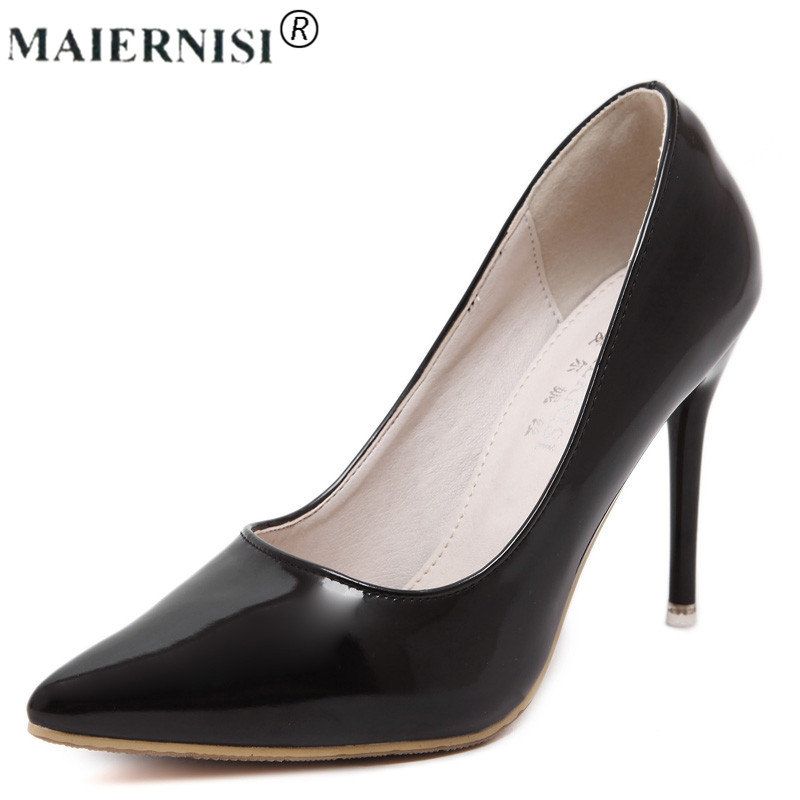 Sale of Chinese Brand Woman Shoes Big Size 44 Discount Sexy Bottom Pointed Thin Square 8cm 10cm High Heels Patent Leather Pump