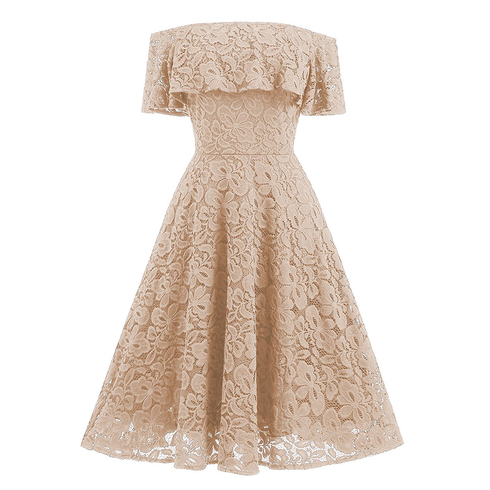 Trendy Floral Lace Ruffled Off the Shoulder Vintage Dress Fit and Flare  Skater Dress Elegant Women Special Occasion Party Dress-in Dresses from  Women s ... d4e51a93e8b4