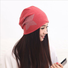 JIMMYHANK Classic Style Knit Baggy Beanie Hat with Star Female Warm Winter Hats for Girls Women Beanies Bonnet Head Cap