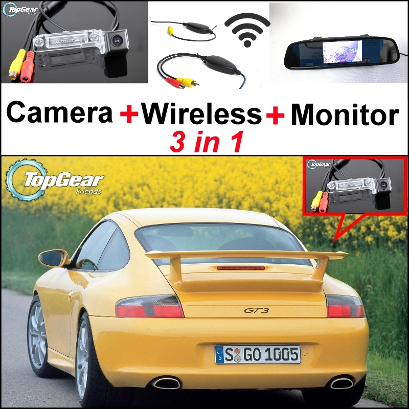 3 in1 Special Rear View Camera + Wireless Receiver + Mirror Monitor DIY Parking System For Porsche 911 GT3 MK1 996 GT3 1999~2005 wireless pager system 433 92mhz wireless restaurant table buzzer with monitor and watch receiver 3 display 42 call button