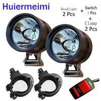 Huiermeimi 2 pcs 12 V U2 Motocicleta Farol led car Driving fog light SUV Holofotes Moto cabeça luzes do ponto de moto lâmpada DRL