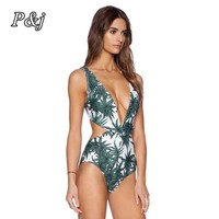 P & j Sexy Floreale Albero Stampa Cinghia di Un Pezzo del Costume Da Bagno A Vita Alta costume Da Bagno Body Body Monokini Donna Bikini Costume Da Bagno vestito