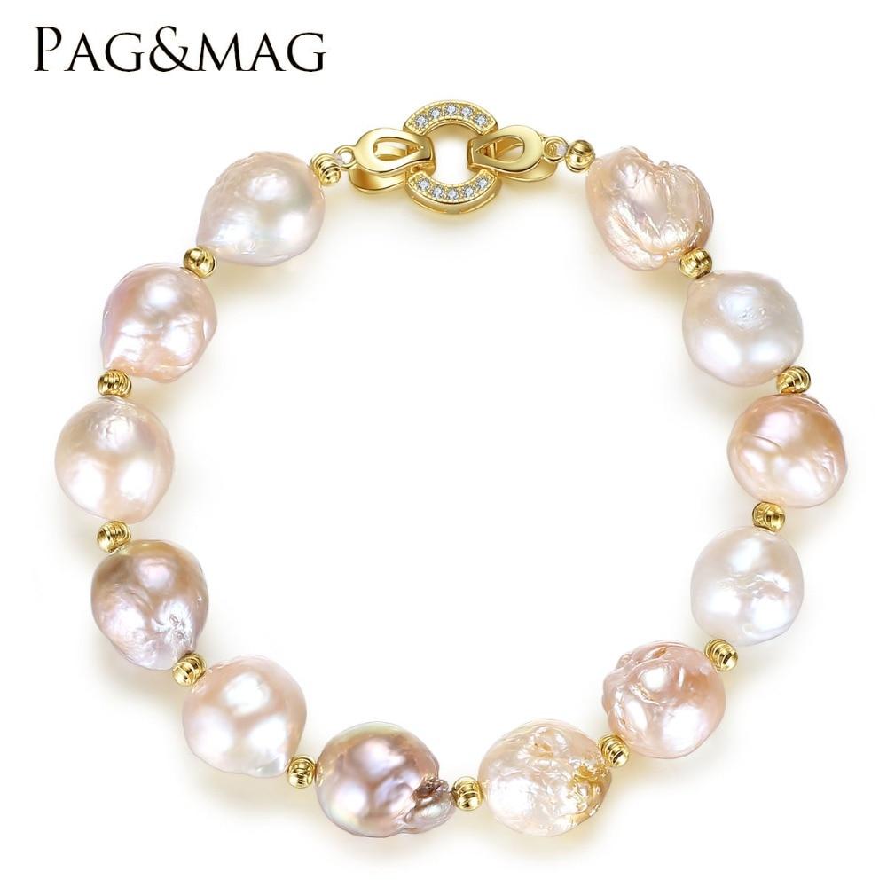 PAG & MAG Marke Süßwasser Perle Strang Armband 12-13mm Natürliche - Edlen Schmuck - Foto 1