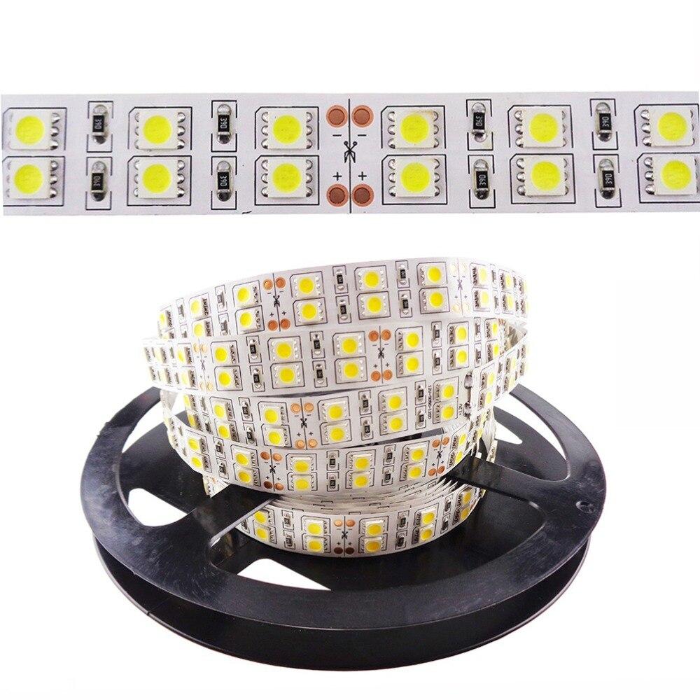 цена Super High brightness 2 rows LED Strip 600 leds 5050 SMD LED Stripe RGB 120leds/m 12V DC 5m none-waterproof warm white IL