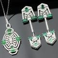Envío Gratis EE.UU. de Lujo 925 plata esterlina AAA CZ Cubic Zirconia Joyería Nupcial, verde cz sistemas de la joyería
