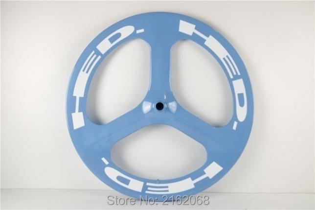 цена на New arrival tubular rim 3 spokes wheels 700C Road Track Fixed Gear bike aero full carbon fibre bicycle blue color Free shipping