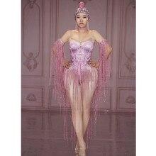 Sexy Pink Tassel Rhinestone Stage Jumpsuit Women Nightclub Crystals Stretch Skin