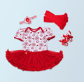 4PCs per Set Short Sleeves Snow Flake Baby Girl Tutu Dress Infant Outfit Leggings Shoes Headband 0-24Motnths