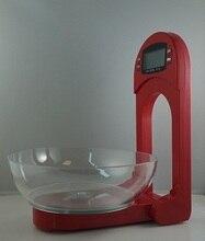 Красный цвет настенные цифровые кухонные весы 3 кг Макс. ЖК-дисплей складной таймера и температуры функция Rohs бесплатно доставка