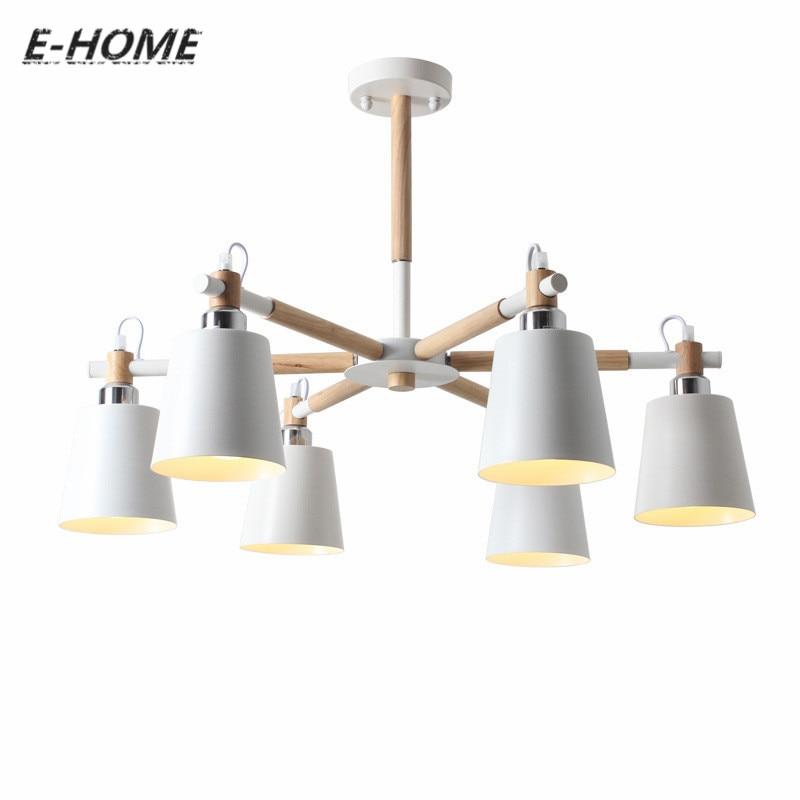 Kreative Einfache 3 6 8 Kopf Massivholz LED Kronleuchter Lampe Fr Wohnzimmer Weiss Schwarz