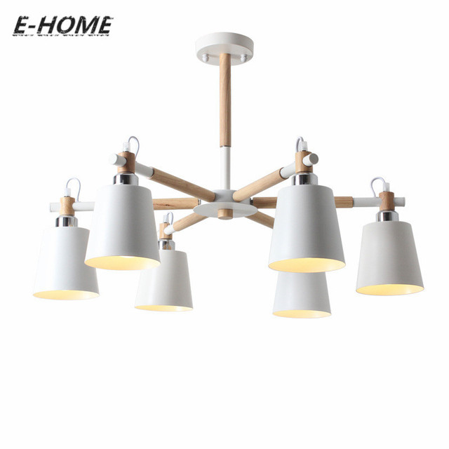 Creative Simple 3 6 8 Head Solid Wood Led Chandelier Lamp For Living Room