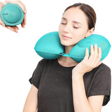 Eyes care Set Travel Pillows Airplanes Inflatable Super Light Portable Neck Pillow U-Shape Automatic Inflatable Cervical care(China)