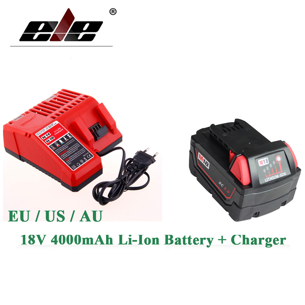 ELEOPTION 18V Li-Ion 4000mAh Replacement Power Tool Battery for Milwaukee M18 XC 48-11-1815 M18B2 M18B4 M18BX Li18 And charger eleoption 2pcs 18v 3000mah li ion power tools battery for hitachi drill bcl1815 bcl1830 ebm1830 327730
