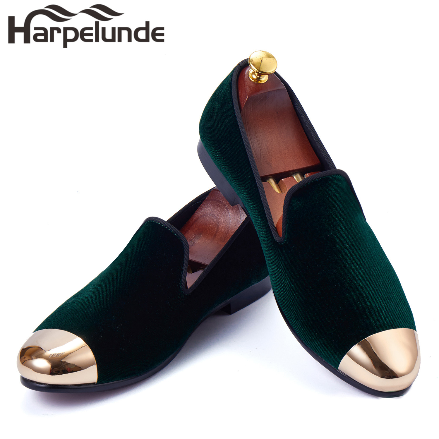 Harpelunde Classic Green Velvet Men Loafer Shoes Copper Cap Toe Flats Size 6-14 harpelunde animal buckle men dress loafers printed velvet flat shoes with copper cap toe size 6 to 14