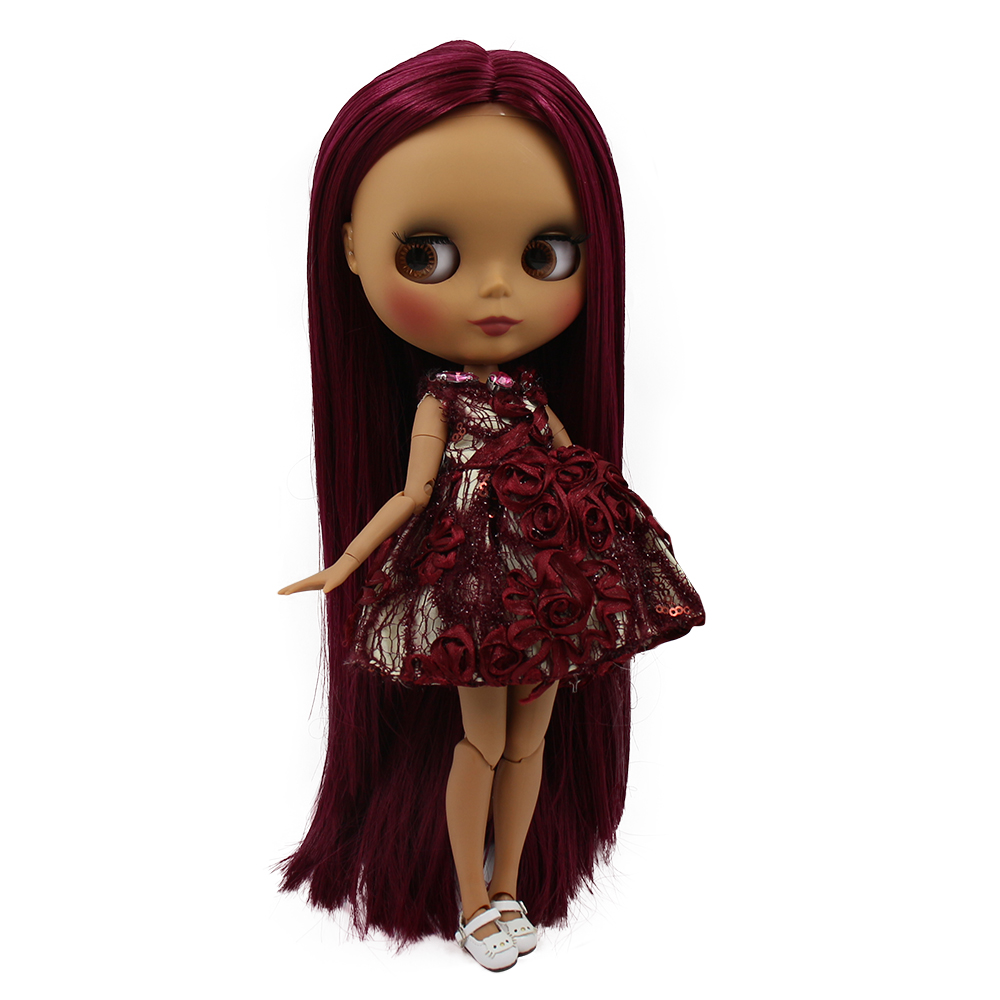 Blyth doll 30cm dark skin matte face Elegant wine red long hair 1 6 JOINT body