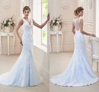 Charming Custom Made Vestido De Noiva Light Blue Wedding Gown 2017 V Neck Mermaid Lace Wedding