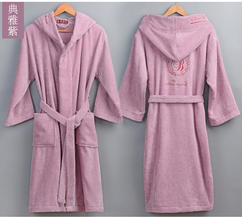 Image 3 - High Quality Men's Winter Bathrobe Male Long Thick Warm Terry Towel Dressing Gown Couple Home Hooded Bath Robes-in Robes from Underwear & Sleepwears
