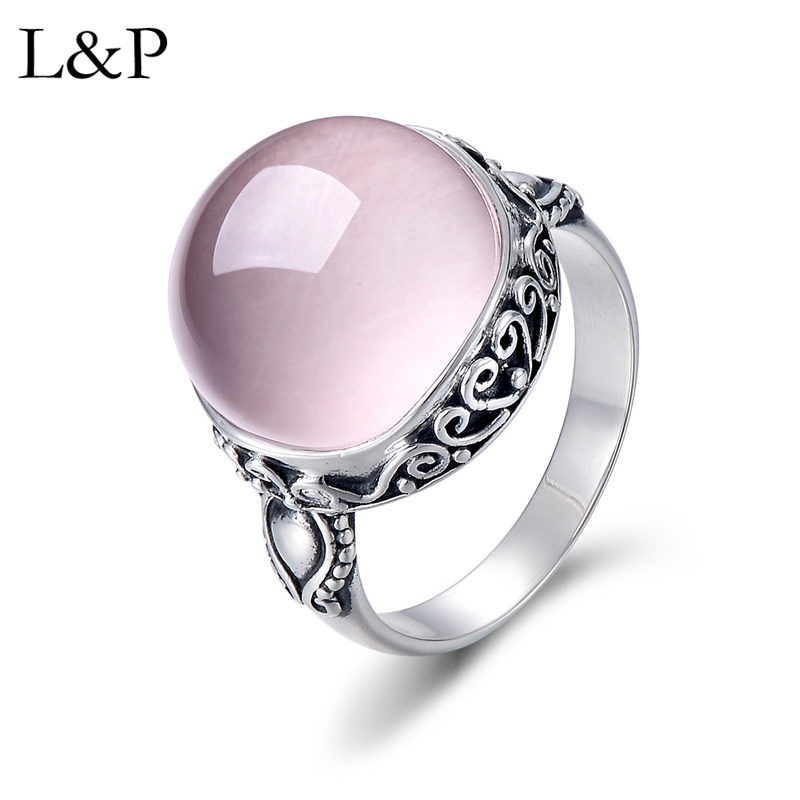 L&P Elegant Rose Quartz Ring For Lady Authentic 925 Sterling Silver Inlay Pink Crystal Ring For Anniversary Wedding GiftL&P Elegant Rose Quartz Ring For Lady Authentic 925 Sterling Silver Inlay Pink Crystal Ring For Anniversary Wedding Gift