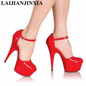 LAIJIANJINXIA 15cm Autumn Sexy Straps High Heels Night Club Party Queen Dance Shoes Platform Pumps Women Dress Dance Pumps Shoes