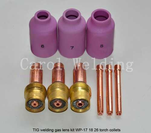 After quality inspection TIG Medium Alumina Nozzle Tig Welding Gas Lens Kit Very useful For WP 17 18 26 Series, 9PK